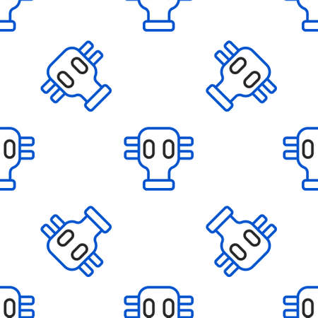 Line Gas mask icon isolated seamless pattern on white background. Respirator sign. Colorful outline concept. Vector