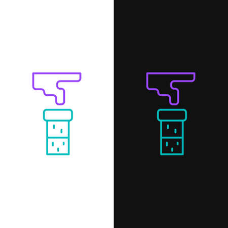 Line Test tube and flask chemical laboratory test icon isolated on white and black background. Laboratory glassware sign. Colorful outline concept. Vector Illusztráció