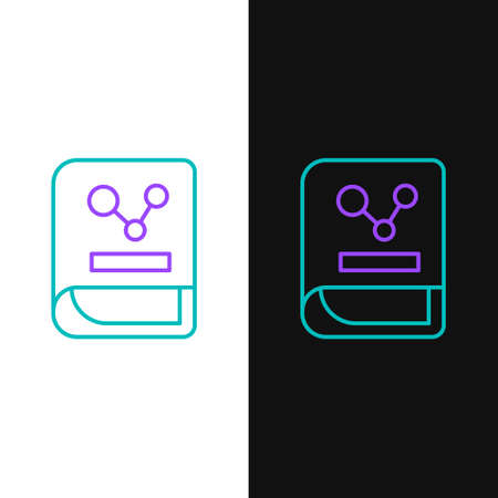 Line Chemistry book icon isolated on white and black background. Colorful outline concept. Vector