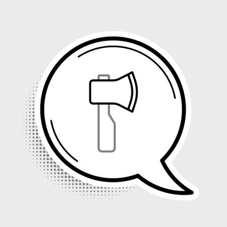 Line Wooden axe icon isolated on grey background. Lumberjack axe. Colorful outline concept. Vector