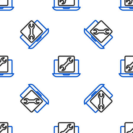 Line Laptop with wrench icon isolated seamless pattern on white background. Adjusting, service, setting, maintenance, repair, fixing. Colorful outline concept. Vector Illusztráció