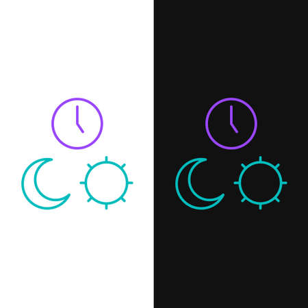 Line Day and night with time icon isolated on white and black background. Colorful outline concept. Vector