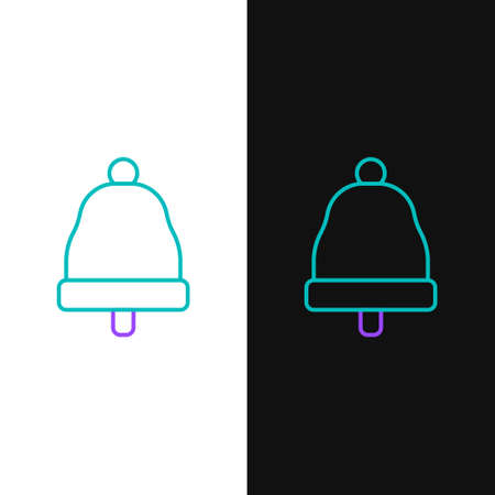 Line Ringing bell icon isolated on white and black background. Alarm symbol, service bell, handbell sign, notification symbol. Colorful outline concept. Vector