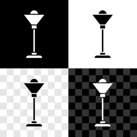 Set Floor lamp icon isolated on black and white, transparent background. Vector