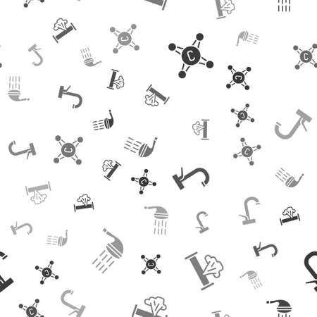Set Water tap, Broken pipe, and Shower on seamless pattern. Vector Vector Illustration