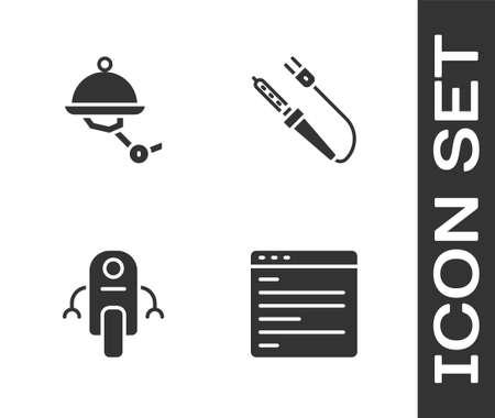 Set Computer api interface, Waiter robot, Robot and Soldering iron icon. Vector