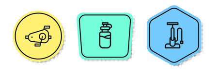 Set line Bicycle pedals, Sport bottle with water and air pump. Colored shapes. Vector