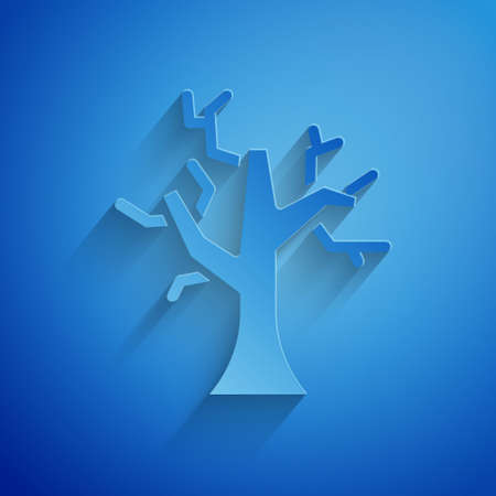 Paper cut Withered tree icon isolated on blue background. Bare tree. Dead tree silhouette. Paper art style. Vector