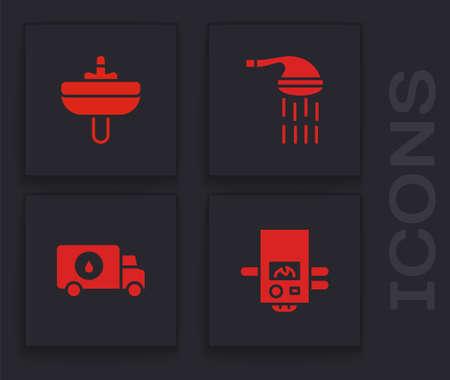 Set Gas boiler, Washbasin, Shower and Plumber service car icon. Vector Vektorgrafik