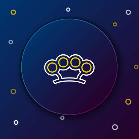 Line Brass knuckles icon isolated on blue background. Colorful outline concept. Vector