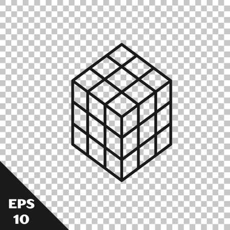 Black line Rubik cube icon isolated on transparent background. Mechanical puzzle toy. Rubiks cube 3d combination puzzle. Vector
