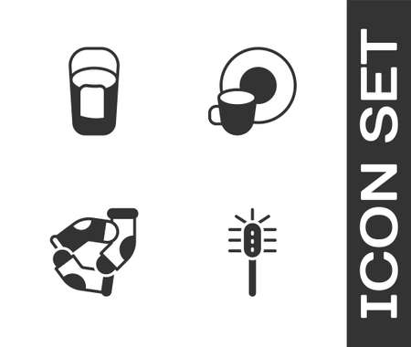 Set Toilet brush, Bucket with rag, Socks and Washing dishes icon. Vector
