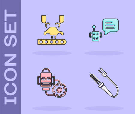 Set Soldering iron, Robotic robot arm factory, setting and Bot icon. Vector