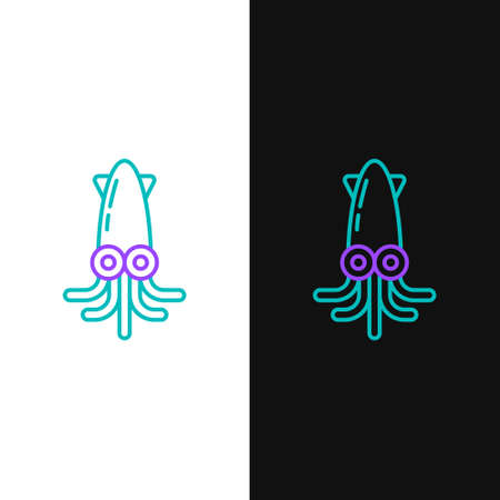 Line Octopus icon isolated on white and black background. Colorful outline concept. Vector