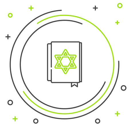 Line Jewish torah book icon isolated on white background. Pentateuch of Moses. On the cover of the Bible is the image of the Star of David. Colorful outline concept. Vector 向量圖像