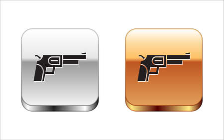 Black Revolver gun icon isolated on white background. Silver and gold square buttons. Vector