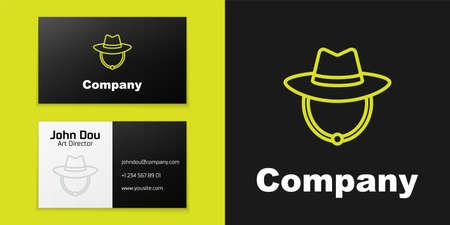 Logotype line Western cowboy hat icon isolated on black background.
