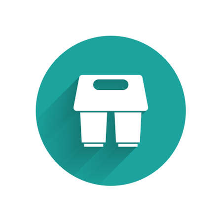 White Coffee cup to go icon isolated with long shadow. Green circle button. Vector