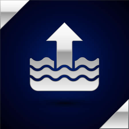 Silver Rise in water level icon isolated on dark blue background. Vector