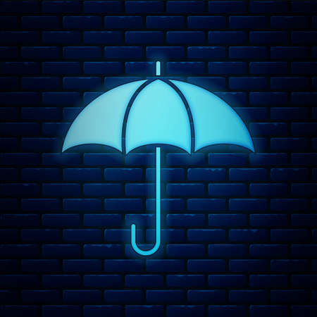 Glowing neon Umbrella icon isolated on brick wall background. Insurance concept. Waterproof icon. Protection, safety, security concept. Vector