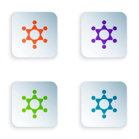 Color Hexagram sheriff icon isolated on white background. Police badge icon. Set colorful icons in square buttons. Vector