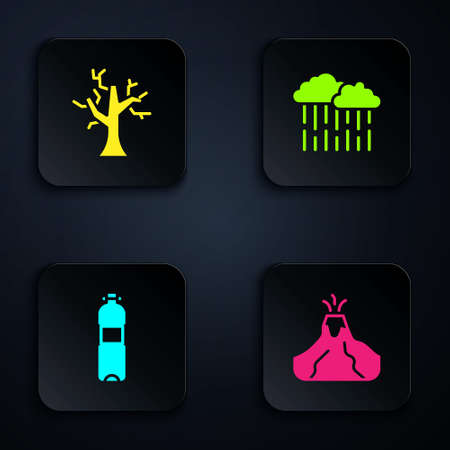 Set Volcano eruption with lava, Withered tree, Bottle of water and Cloud rain. Black square button. Vector