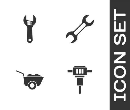Set Construction jackhammer, Adjustable wrench, Wheelbarrow and Wrench spanner icon. Vector Vetores