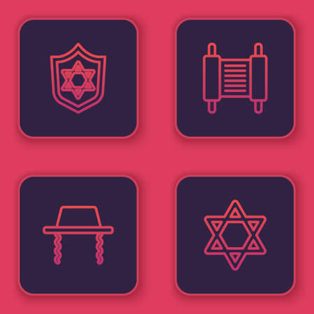 Set line Shield with Star of David, Orthodox jewish hat, Torah scroll and . Blue square button. Vector