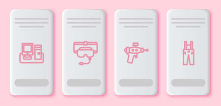 Set line Monitor with keyboard, Virtual reality glasses, Ray gun and Pants suspenders. White rectangle button. Vector