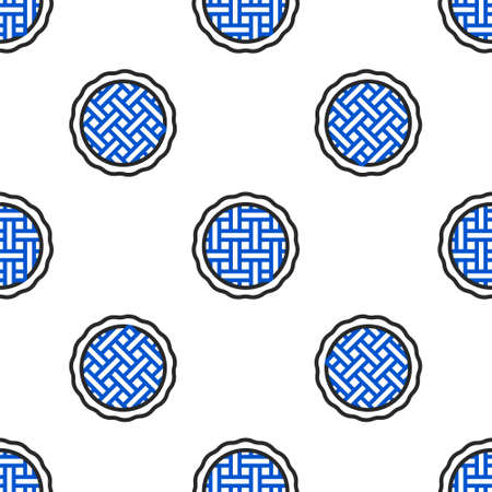 Line Homemade pie icon isolated seamless pattern on white background. Colorful outline concept. Vector
