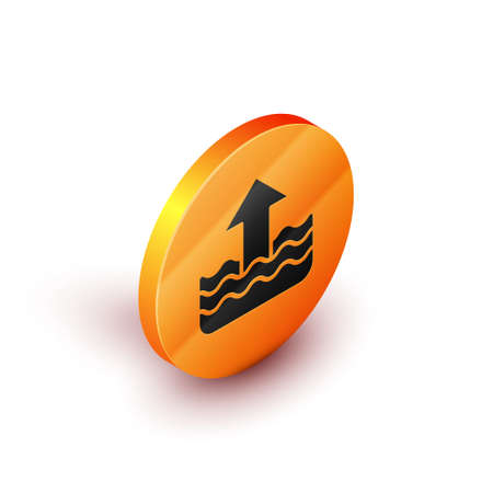 Isometric Rise in water level icon isolated on white background. Orange circle button. Vector