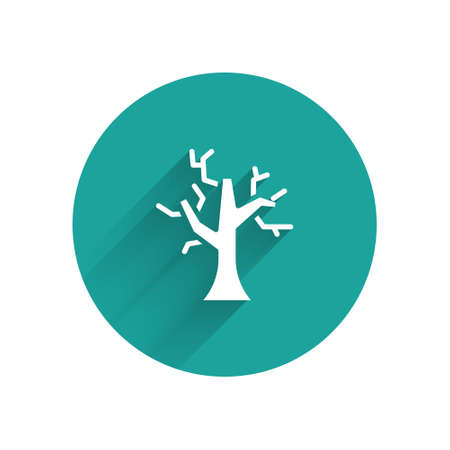 White Withered tree icon isolated with long shadow. Bare tree. Dead tree silhouette. Green circle button. Vector