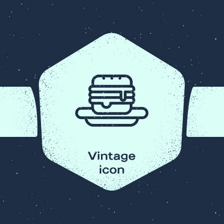 Grunge line Junk food icon isolated on blue background. Monochrome vintage drawing. Vector