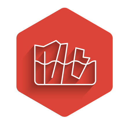 White line Glacier melting icon isolated with long shadow. Red hexagon button. Vector
