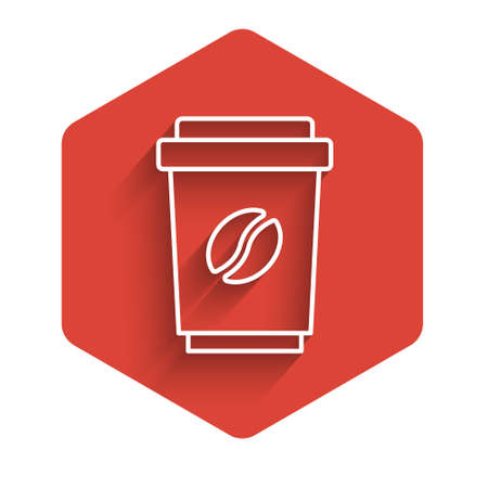 White line Coffee cup to go icon isolated with long shadow. Red hexagon button. Vector