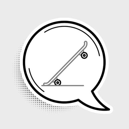 Line Skateboard icon isolated on grey background. Extreme sport. Sport equipment. Colorful outline concept. Vector