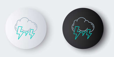 Line Storm icon isolated on grey background. Cloud and lightning sign. Weather icon of storm. Colorful outline concept. Vector