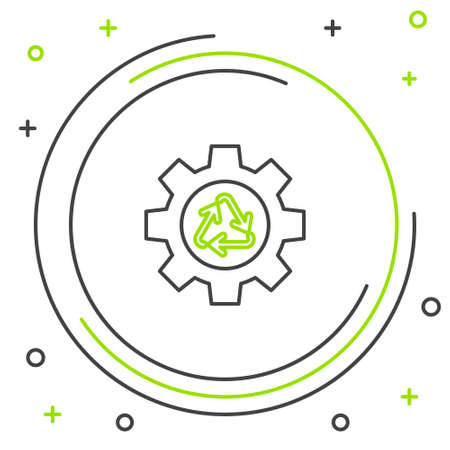Line Recycle symbol and gear icon isolated on white background. Circular arrow icon. Environment recyclable go green. Colorful outline concept. Vector