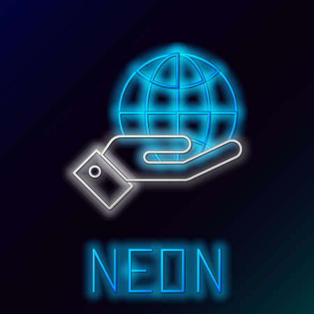 Glowing neon line Human hands holding Earth globe icon isolated on black background. Save earth concept. Colorful outline concept. Vector