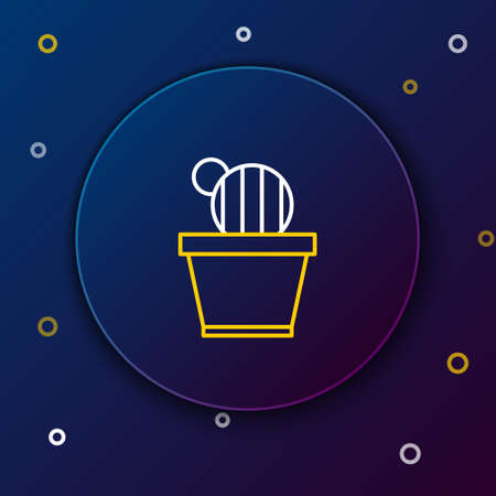 Line Cactus and succulent in pot icon isolated on blue background. Plant growing in a pot. Potted plant sign. Colorful outline concept. Vector