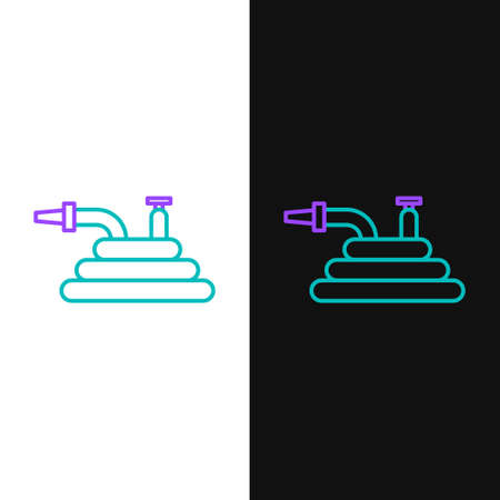 Line Garden hose or fire hose icon isolated on white and black background. Spray gun icon. Watering equipment. Colorful outline concept. Vector