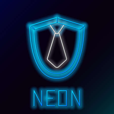 Glowing neon line Tie icon isolated on black background. Necktie and neckcloth symbol. Colorful outline concept. Vector