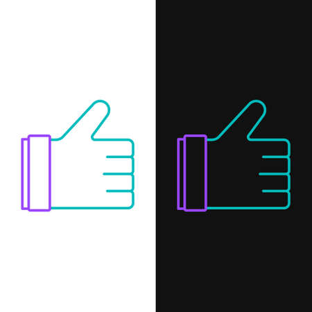 Line Hand like icon isolated on white and black background. Colorful outline concept. Vector