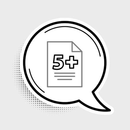 Line Test or exam sheet icon isolated on grey background. Test paper, exam or survey concept. Colorful outline concept. Vector
