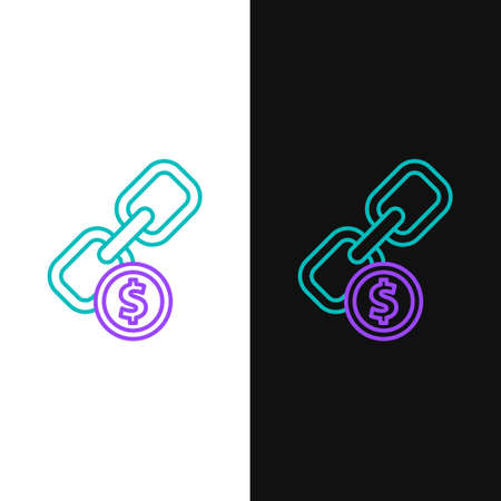 Line Chain link and coin icon isolated on white and black background. Link single. Hyperlink chain symbol. Colorful outline concept. Vector