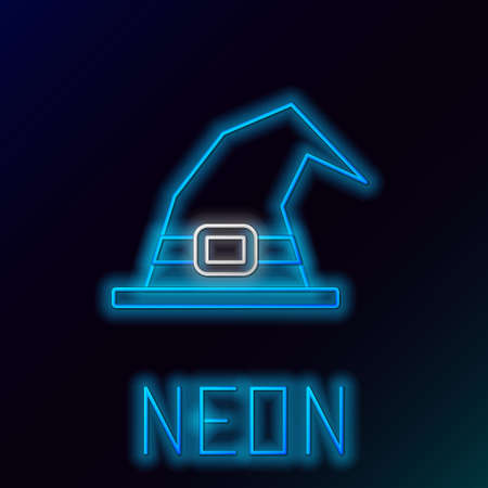 Glowing neon line Witch hat icon isolated on black background. Happy Halloween party. Colorful outline concept. Vector