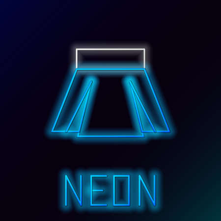 Glowing neon line Skirt icon isolated on black background. Colorful outline concept. Vector