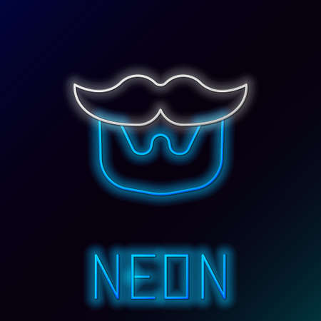 Glowing neon line Mustache and beard icon isolated on black background. Barbershop symbol. Facial hair style. Colorful outline concept. Vector