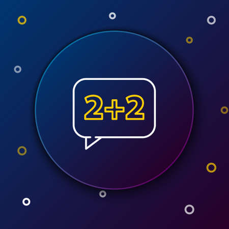 Line Math system of equation solution on speech bubble icon isolated on blue background. Colorful outline concept. Vector