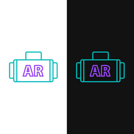 Line Ar, augmented reality icon isolated on white and black background. Colorful outline concept. Vector